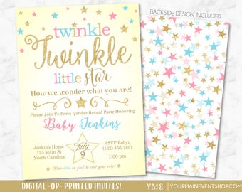 Twinkle Twinkle Little Star Gender Reveal Invitation • Twinkle Star Gender Reveal Invite • Gold Glitter Gender Reveal Party Printable Invite