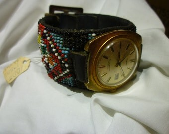 B27 Circa 1950's Southwestern Inspired Beaded Watch Band w/Timex Watch, Working.