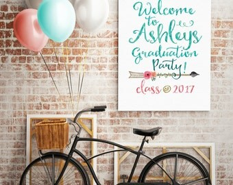 Boho Graduation Party Sign - Welcome to the (graduates name) Party. DIY Printable or Printed. Gold, Coral, Aqua