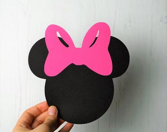 10 Large Minnie Mouse die cuts 6.0x6.1 inches, Minnie Mouse Birthday, Minnie Mouse Baby Shower, Minnie Party, Minnie Bow TieDisney die cuts