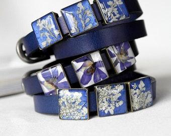 Royal blue bracelet gift idea for women Leather cuff bracelet Double wrap bracelet Terrarium jewelry adjustable bracelet statement bracelet