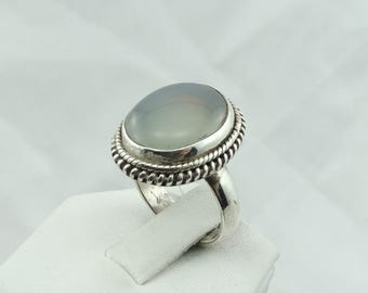 Gorgeous Natural Pale Blue Chalcedony Sterling Silver Ring  #CHALCEDONY-SR2