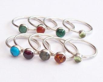 Stacking ring , Sterling Silver Gemstone Ring  , Gemstone Ring , Stack Ring
