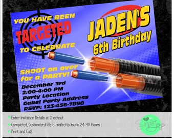 Nerf Gun Birthday Party Invitation - Printable File - We Fill and You Print!