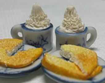 Artisan dollhouse dolls house food Hot chocolate and toast W/26