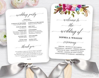 Boho Floral Wedding Fan Program, Printable Wedding Fan Program Template, Boho Fan Wedding Programs, DIY Wedding Programs, Wildflowers