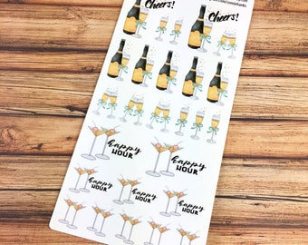 CHAMPAGNE! Happy Hour and Cheers! PLANNER STICKERS! {#170482}