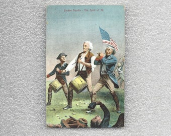 Vintage US Patriotic Postcard Yankee Doodle The Spirit of 76 Drummer and American Flag with Handwritten Story on Back Marblehead MA ~ 8076a