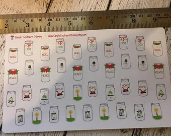 Country Chic Christmas Mason Jar Stickers
