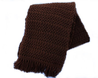 Ready to Ship**Free Shipping**/Crochet Blanket/Dark Brown Blanket Throw/Knit Knitted Afghan Blanket Throw/Espresso Brown Blanket Throw