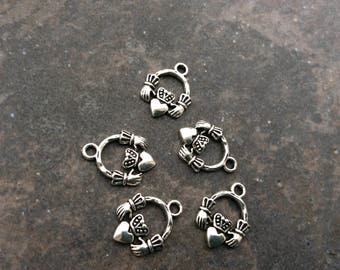 Irish Claddagh Charms Package of 5 charms perfect for adjustable bangle bracelets