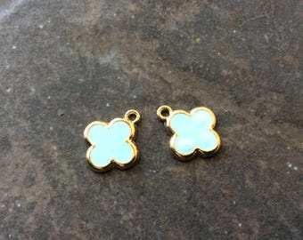 Quatrefoil charms in Aqua blue enamel and gold finish package of 2 charms