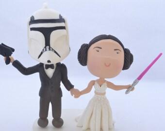 Princess Leia bride and clone trooper groom. Star Wars cake topper. Wedding figurine.  Handmade. Fully customizable.