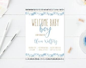 Baby Shower Invitation, Boho Baby Shower Invitations, Boy Baby Shower Invite, Boho Boy Baby Shower Invitation, Welcome Baby Boy Invite [516]