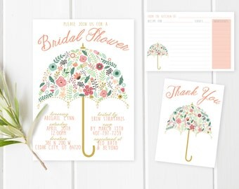 Bridal Shower Pack, Bridal Shower Invite, Umbrella Bridal Shower Invitation, Recipe Card, Printable Bridal Shower Invitation, Thank You Card