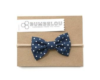 Classic Fabric Bow - Navy Dot - Headband or Clip