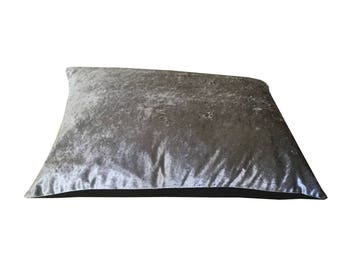 Luxury Crushed Velvet Dog Cat Pet bed STEAL GREY Hand made in the UK