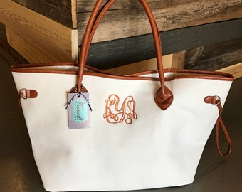 50% OFF Monogrammed Canvas Tote Bag, Hand Bag, Purse