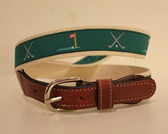 Golf Ribbon  Men's Web Leather Belt