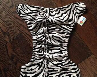 Lya pocket diaper with zebra minky PUL