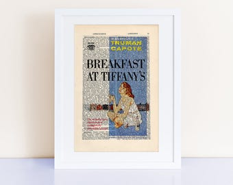 Truman Capote's Breakfast at Tiffanys Print on an antique page , book cover print, classic cover