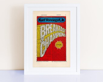 Breakfast of Champions by Kurt Vonnegut Print on an antique page, book cover art