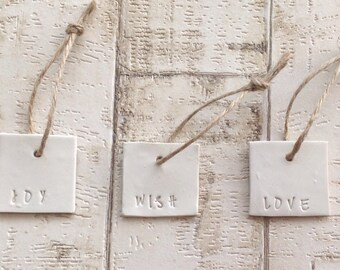 Clay hand stamped gift tag decoration set of 3