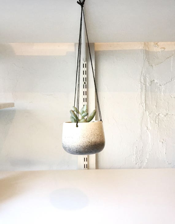 Small Ceramic planter-white and black - hanging flower pot - herb planter