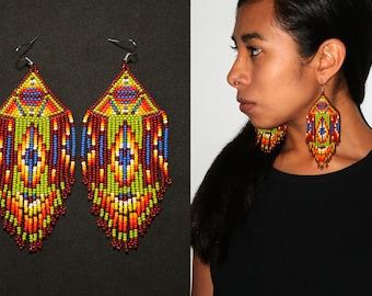 Native American Beaded Earrings, Aztec Earrings, Geometric Tribal Earrings, Pyramid Earrings, Large Dangling Earrings, Statement Earrings