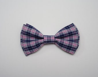 plaid bow tie, baby bow tie, boys bow tie, clip on bow tie, easter bow tie, spring bow tie, pink and blue bow tie