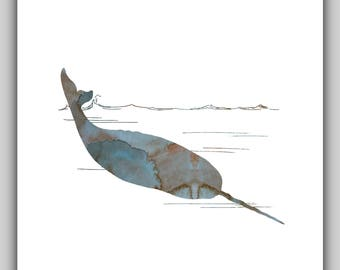 Narwhal, Narwhals, Whale pictures, Whale picture, Narwhal picture, Narwhal pictures, Sea animals, Nautical, Coastal, Art, Prints, 8x10, gift