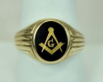 Vintage Art Deco Era Mens Ring 10K Yellow Gold Masons Masonic Emblem Black Onyx Sz 9.75  c1930s-40s