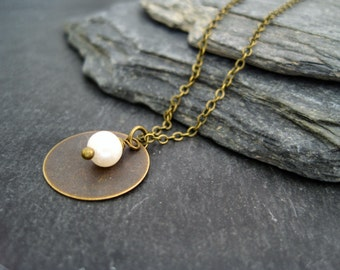 Pearl Necklace disc necklace vintage antique brass freshwater pearl necklace