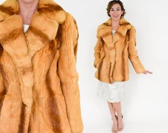 70s Rabbit Fur Coat | Striped Golden Fur Jacket | Kamal NY LA | Medium Large