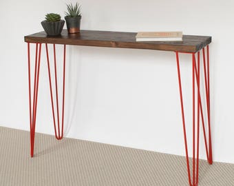 Yamin Console Table | Hairpin legs | Industrial | Mid Century Modern Style | Reclaimed Wood | Eco Friendly | Walnut Finish