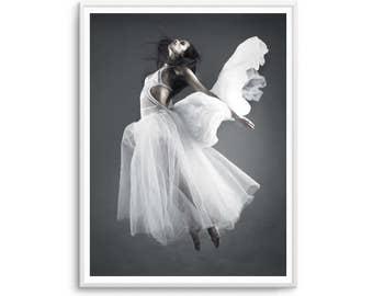 Ange Blanc (White Angel) Scandi Print Flying Angel Scandi Print Poster Black and White Scandi Art Scandinavian Prints
