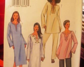 Butterick Printed Pattern ~ Butterick 3840 ~ Size XS to M ~ 2003 Misses'/Misses' Petite Tunic, Dress, Caftan & Pants