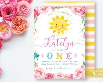 Little Sunshine Birthday Invitation Girl Pink Yellow First Birthday Invitation Girl Little Sunshine Invite Card - Printable Digital File