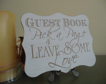Wedding Guest Book Sign, Pick A Page Guest Book Wedding Sign, Wooden Wedding Plaque, Wedding Reception Sign, Guest Sign