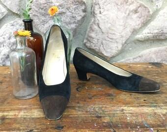 Vintage 80s-90s Salvatore Ferragamo Black & Brown Suede High Heeled Pumps / Made In Italy / Women's Size 8