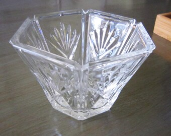 Vintage Pinwheel Lead Crystal Covered Candy Dish Lidded