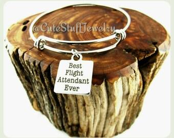 Best Flight Attendant Ever bracelet, Flight Attendant Bangle, Flight Attendant Bracelet, Handmade Flight Attendant Jewelry, Stewardess Gift