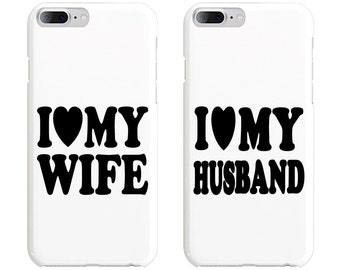 I Love My Wife & I Love My Husband Couple Phone Case Mate - iPhone, Samsung Galaxy Phone Cases for Couples - Matching Phone Case