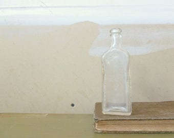 Antique 1920's Glass Pharmacy Bottle / Foley and Co. Clear Glass Medicine Bottle