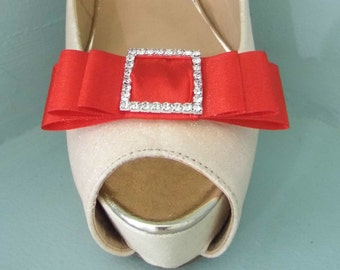 Handmade Red Triple Bow Shoe Clips with Diamante Buckle Centre