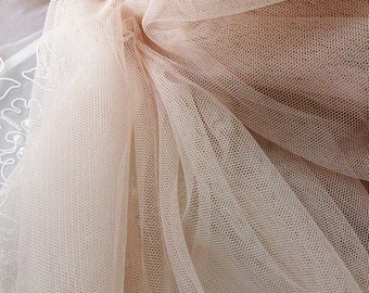 "1 yard Light Pink Ivory Tulle Mesh Gauze Mesh Lace Veil Headband  Bridal Wedding Headband Fabric 59"" width"
