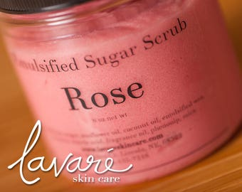 Rose Sugar Scrub, Emulsified Rose Scrub, Natural Rose Scrub, Handcrafted Rose Scrub, Vegan Sugar Scrub, Body Polish, Exfoliating Sugar Scrub