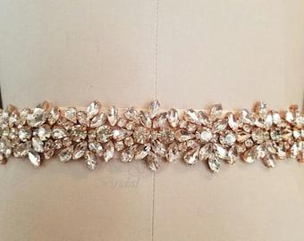 All Around Rose Gold Bridal Sash, Crystal Wedding Belt, Rose Gold Wedding Belt, Wedding Dress Belt, Beaded Belt, Rhinestone Trim, SASCHA