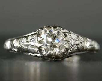 Antique 14K White Gold Engagement Ring with .55ct Old Mine Cut Diamond