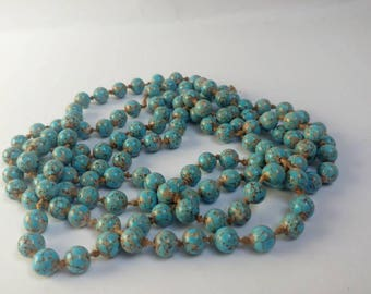 Antique Hubbell beads Czech turquoise glass beads flapper necklace